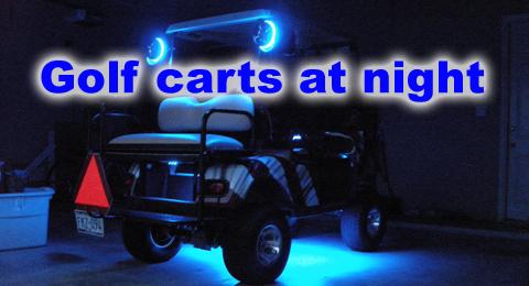 Golf carts at night