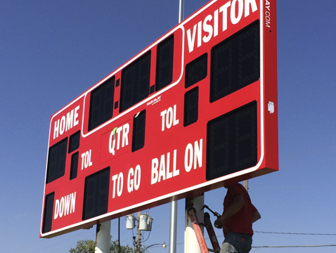 New scoreboard was being put up on Wednesday.