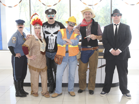 The staff of the Countryside Motors were dressed for Halloween this morning.