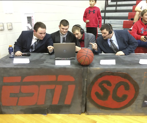 ESPN Sportscenter makes appearance in Wellington Circle basketball game.
