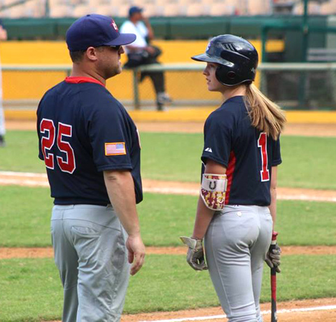 Ryleigh Buck talks with one of her coaches at the Pan Am Game Qualifier in March.