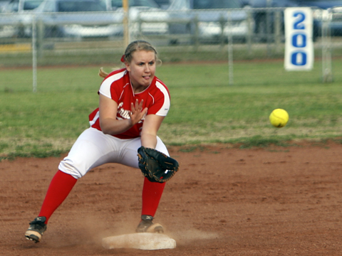 Erin Goodrum at second base in game one against Circle.