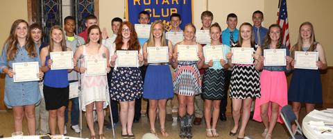 Wellington eighth grade rotary winners
