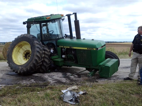 John Deere Tractor Accident Leaves One Injured North Of