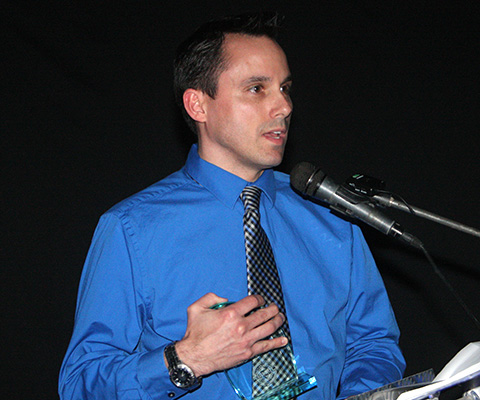 Brandon Earl, manager at Mill Creek Lumber, was presented the award by the Sumner County Young Professionals.