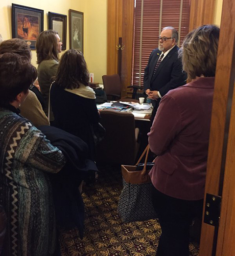 Sumner County school patrons speak with Steve Abrams about consolidation bill in Topeka.