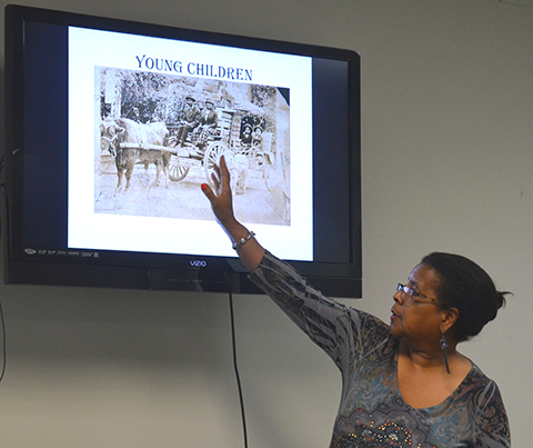 Angela Bates was in Wellington Saturday to speak to Sumner County Historical Society of the community of Nicodemus.