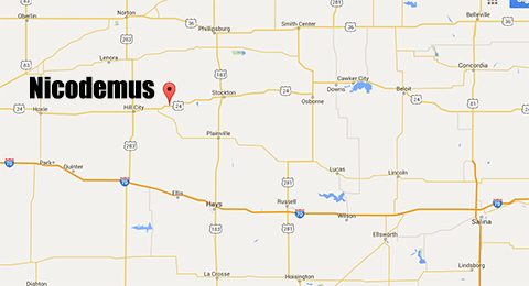 Nicodemus is located north of Hays and east of Salina.