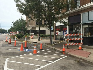 """More cones and barricades surrounds the building known as """"Lincoln Place"""" this week."""
