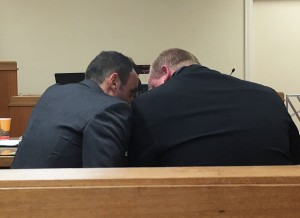 Nick Reedy confers with his lawyer Sal Ignaanita during sentencing hearing.