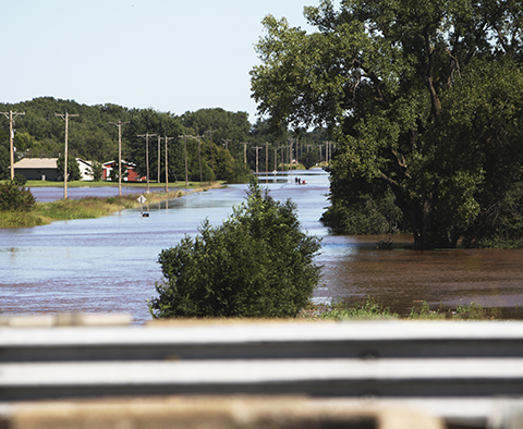 K-55 flooding Saturday afternoon, west of Belle Plaine.