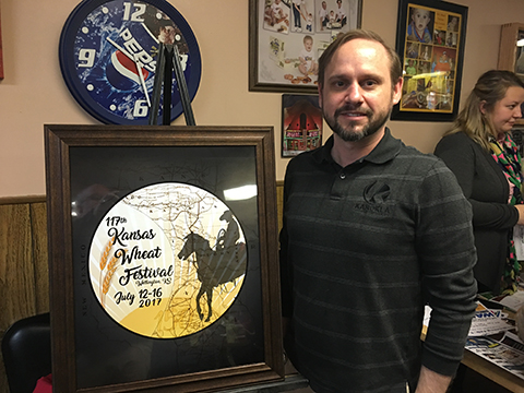 Mark Cope of Tonkawa named winner of Kansas Wheat Capital button contest.