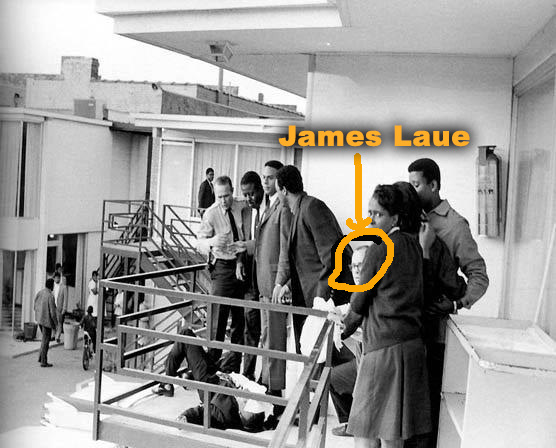 This picture was taken at Martin Luther King's assassination. King is in the lower left picture with Laue circled.