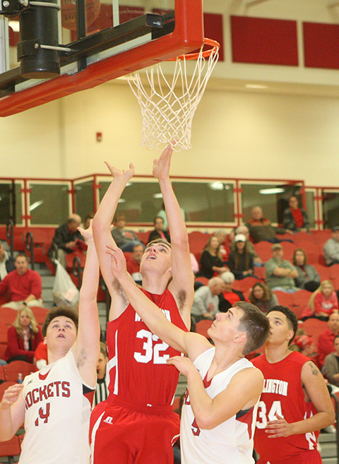 Ian King's 12 points weren't enough as Rose Hill overpowers Wellington. Above, Shayland French sees slew of Rose Hill players in big loss to Rockets.
